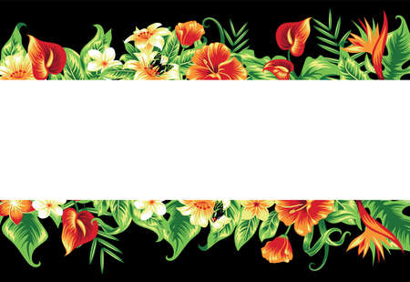 Banner with tropical leaves and flowers on black.