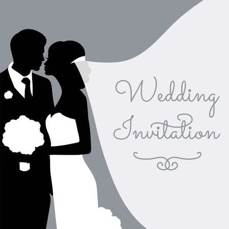 Romantic wedding silhouettes with text on grey. Vector Illustration