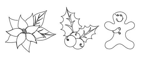 Set of christmas details in a linear style.