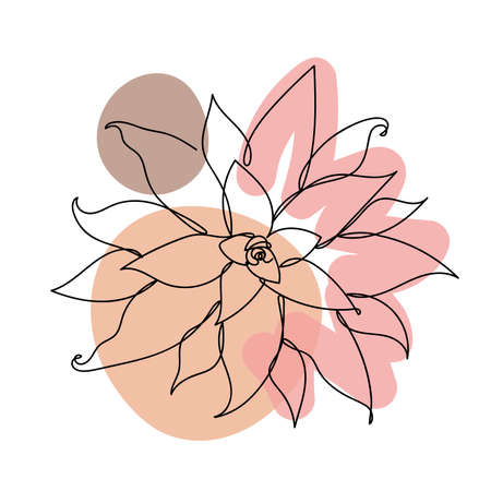 Flower in a linear style on colorful background.