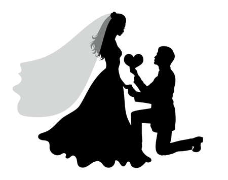 Romantic wedding silhouettes of a couple on white.