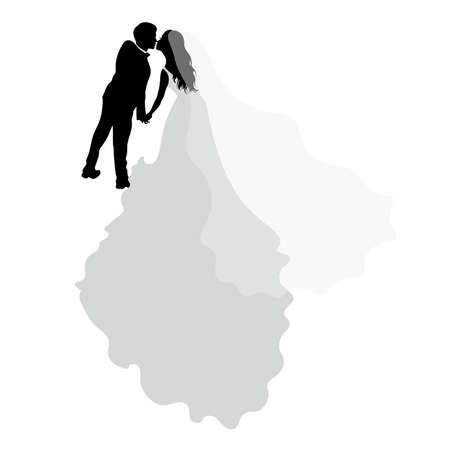 Romantic wedding silhouettes with text on grey.