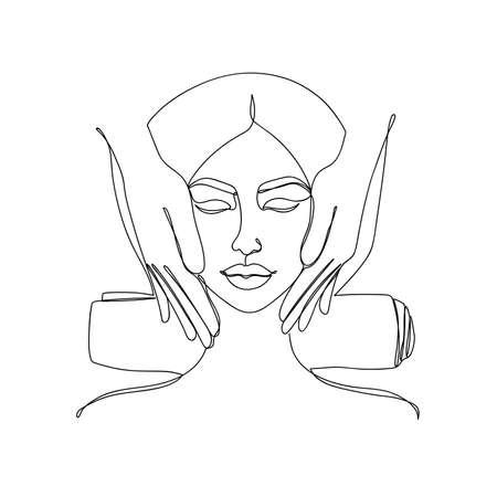 Abstract image in a linear style of a woman. Ilustración de vector