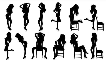 Set of vector silhouettes of a woman.