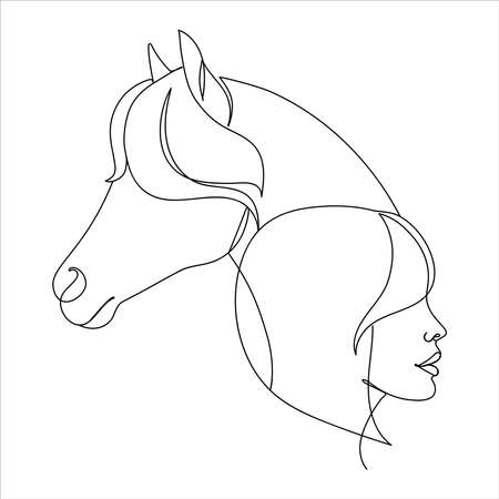Modern one line art of a horse and a woman.