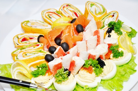 Different salads, snacks Stock Photo