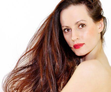 Girl with long hair photo