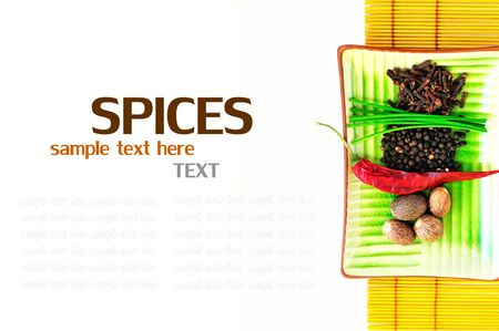 bowl with fresh herbs and spices  With sample text