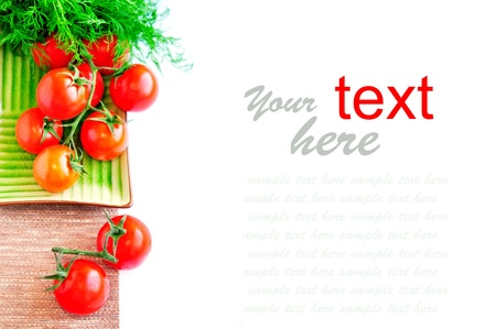Tomatos on white background  with sample text