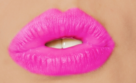 Close-up of beautiful woman lips photo