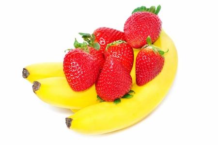 Bananas and strawberries Stock Photo