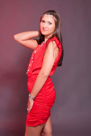 Sexy Lady In Red Dress Stock Photo 15005729