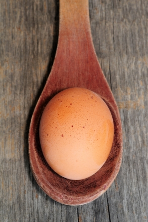 Close up of an egg in spoon
