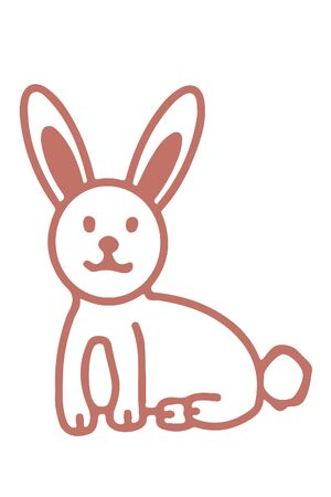 A rabbit in brown pastel colors for Easter. Simple drawing.