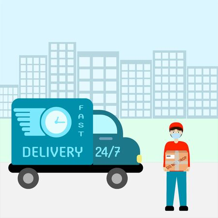 The delivery man is standing with a box in his hands near the car. Stockfoto - 147463935