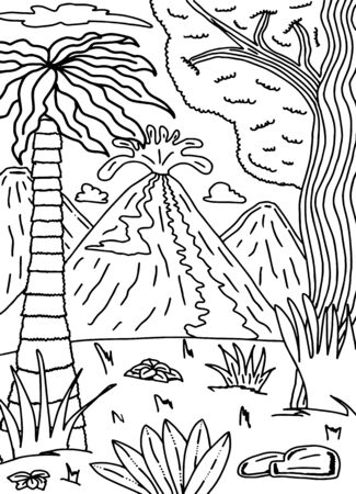 Ancient world. Tropics and volcanic eruption. Children's coloring in black and white. 向量圖像