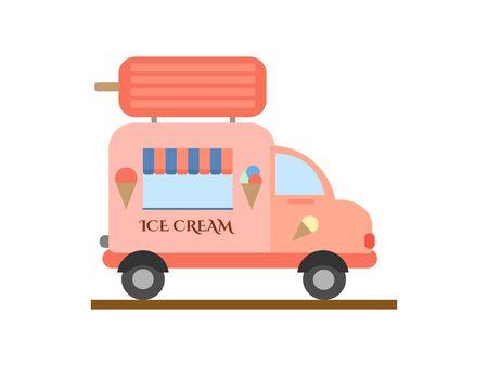 Ice cream truck. Vector hand drawn illustration.