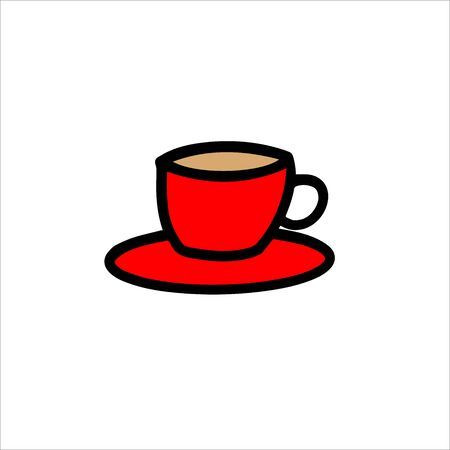 Red cup and saucer in the English style.