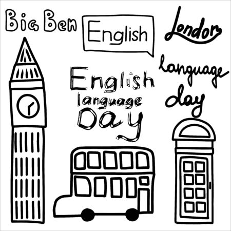 Set from lettering on an English theme, a double-decker bus and a telephone box as symbols of the country.