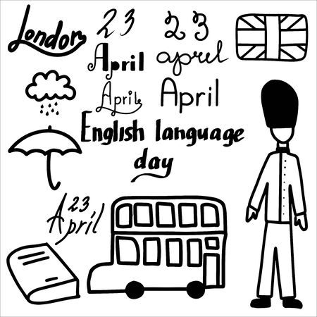 Clipart of London paraphernalia and lettering for the Day of the English language.