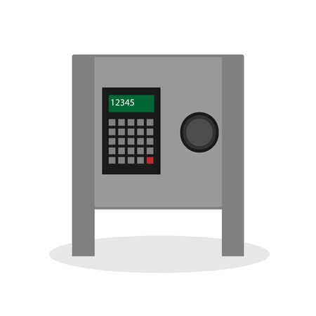 Safe for money with a secret code. Isolate vector illustration on a white background.