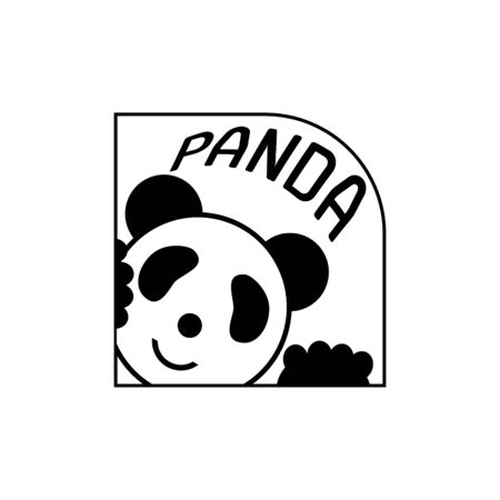 Panda bear silhouette Logo design vector template. Isolate on a white background. 向量圖像