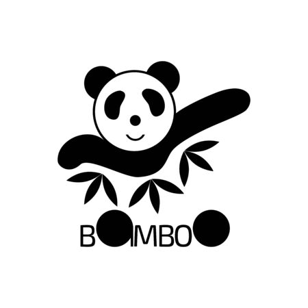Panda logo. Bamboo in black and white color. 向量圖像