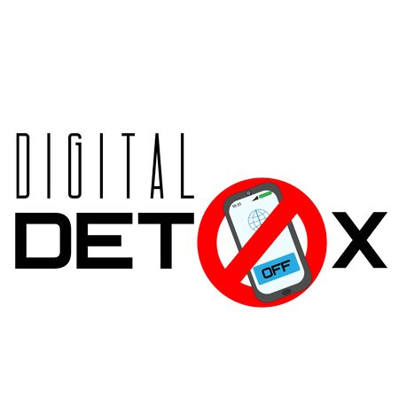 Digital Detox typography phrase. Say no mobile phone. Vector illustration.