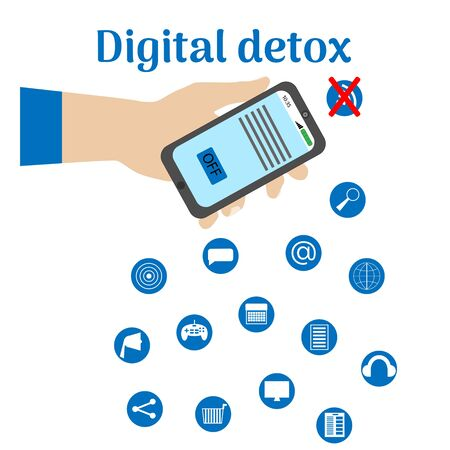 Digital detox. A male hand holds a smartphone with an inscription and a symbol of rejection of gadgets, devices, the Internet, communication on social networks. Vector illustration white background.