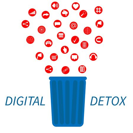 Trendy flat information icons going into a garbage basket. Concept illustration of digital hygiene, input overload and digital detox. Banner template on the white background with text.