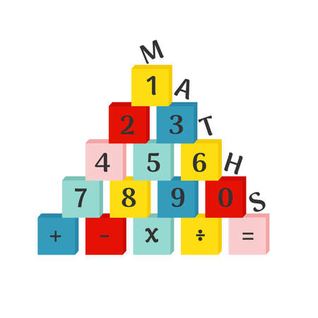 Colorful numbers from 0 to 9 with mathematical operations on blocks. Vector illustration on white background. Иллюстрация