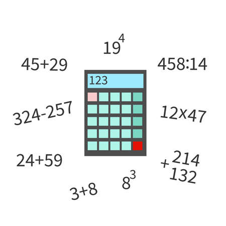 Calculator flat icon, numerator with math example vector illustration on white bakground.