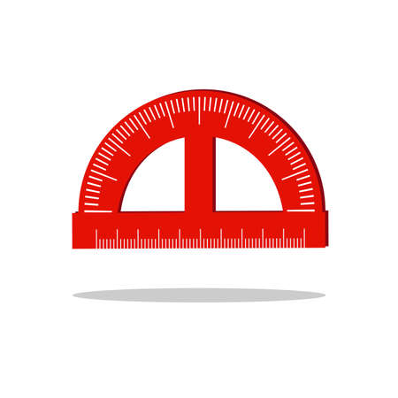 Red school protractor, vector illustration on white background. Ilustrace