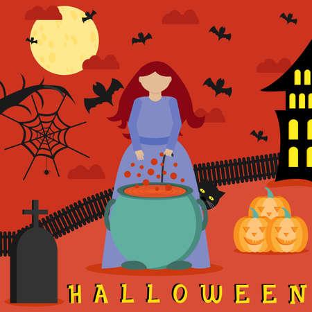 Happy Halloween Halloween witch. Girl in Halloween holds a pumpkin. Bats fly around. Retro vintage. Violet background. Flat vector illustration. Çizim