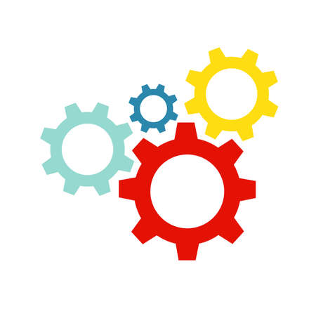 Color gears. Cogwheel icon flat picture vector eps10 graphic. Vector ilustration.