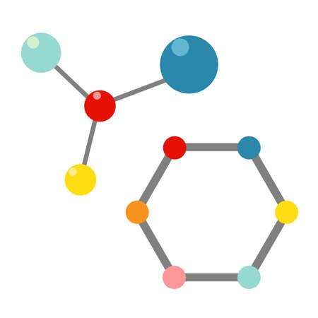 Vector color illustration of protein molecule set.