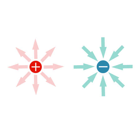 Electric field lines, physics, vector, Electric field of a positive and a negative point charge. Vector illustration.