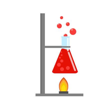 Laboratory equipment, jars, beakers, flasks, spirit lamp. Chemical reaction. Biology science education medical. Vector illustration in flat.