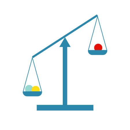 Vector illustration of a blue scale which can be used like a symbol of decission between two choices, things. Flat illustration. Çizim
