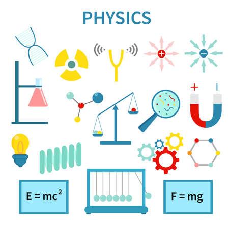 Physics, Chemistry, Biology, laboratory and science equipment Icons Set. Çizim