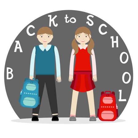Uniformed elementary school boy and school girl with backpack go back to school. Vector illustration.
