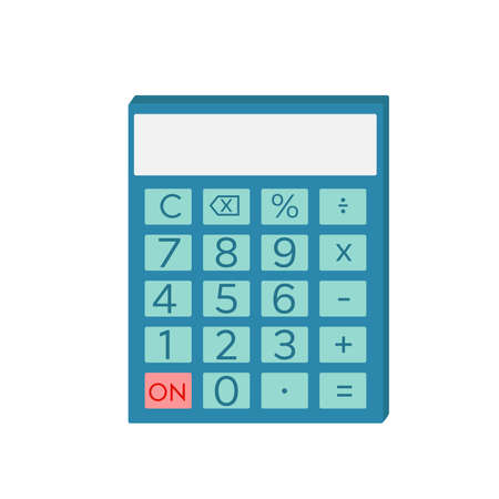 Shcool calculator icon in flat style isolated. Vector electronic portable calculator. Vector Illustration