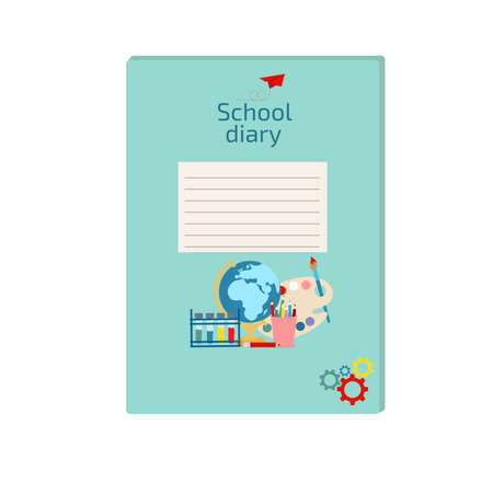 Diary cover for children. School diary for primary or other school cover template. Vector illustration on white background. Çizim