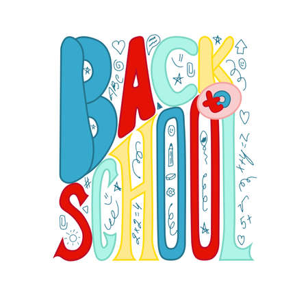 Back to school poster with doodles. Flat vector illustration on white background.
