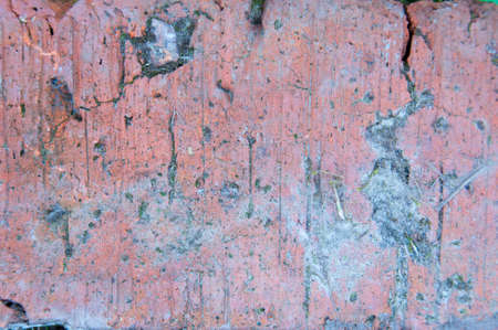 Red brick texture macro closeup, old detailed rough grunge textured copy space background. Stok Fotoğraf