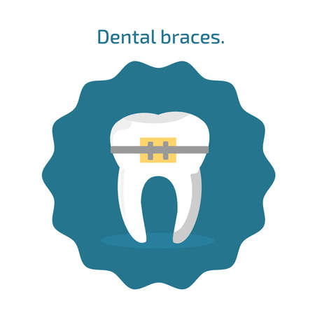 Tooth with dental braces icon in flat style isolated. Dental icons on blue background. Vector illustration for dentistry