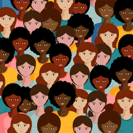 Vector illustration with a large group of girls and women. flat illustration of crowd female community