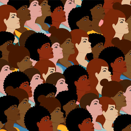 Crowd of women different nationalities in colorful clothes. Flat vector illustration