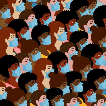 Crowd of women different nationalities in colorful clothes and medical masks. Women look in profile. Flat vector illustration Иллюстрация