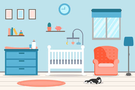 Cute Nursery interior, baby room. Cot chair for mother, framed pictures and chest of drawers. Vector illustration in flat style